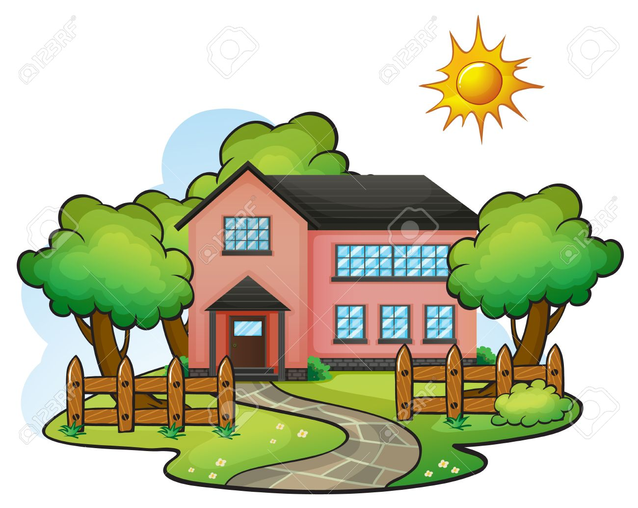 Illustration Of A House In A Beautiful Nature Royalty Free.