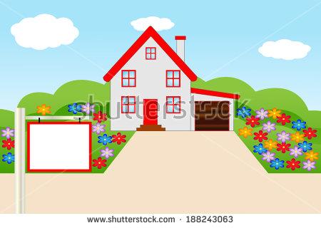 Beautiful house garden clipart.