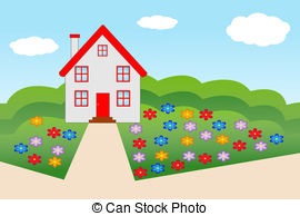 Vector Clip Art of house with a flowering garden.