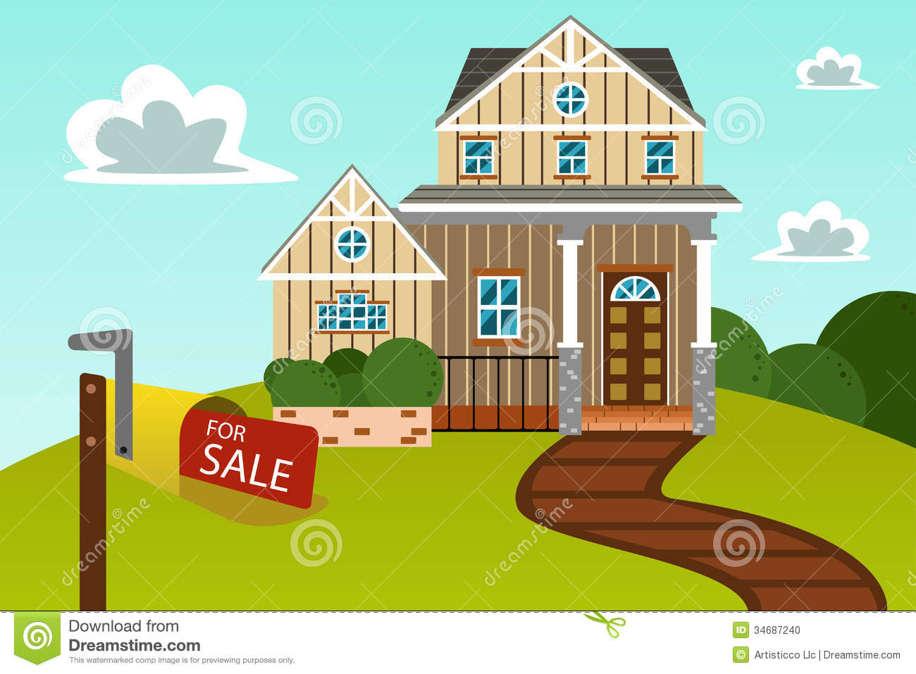 Modern Home With For Sale Sign Royalty Free Stock Photography.