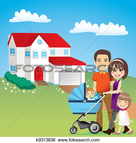 Clip Art of Beautiful Family House k9313836.