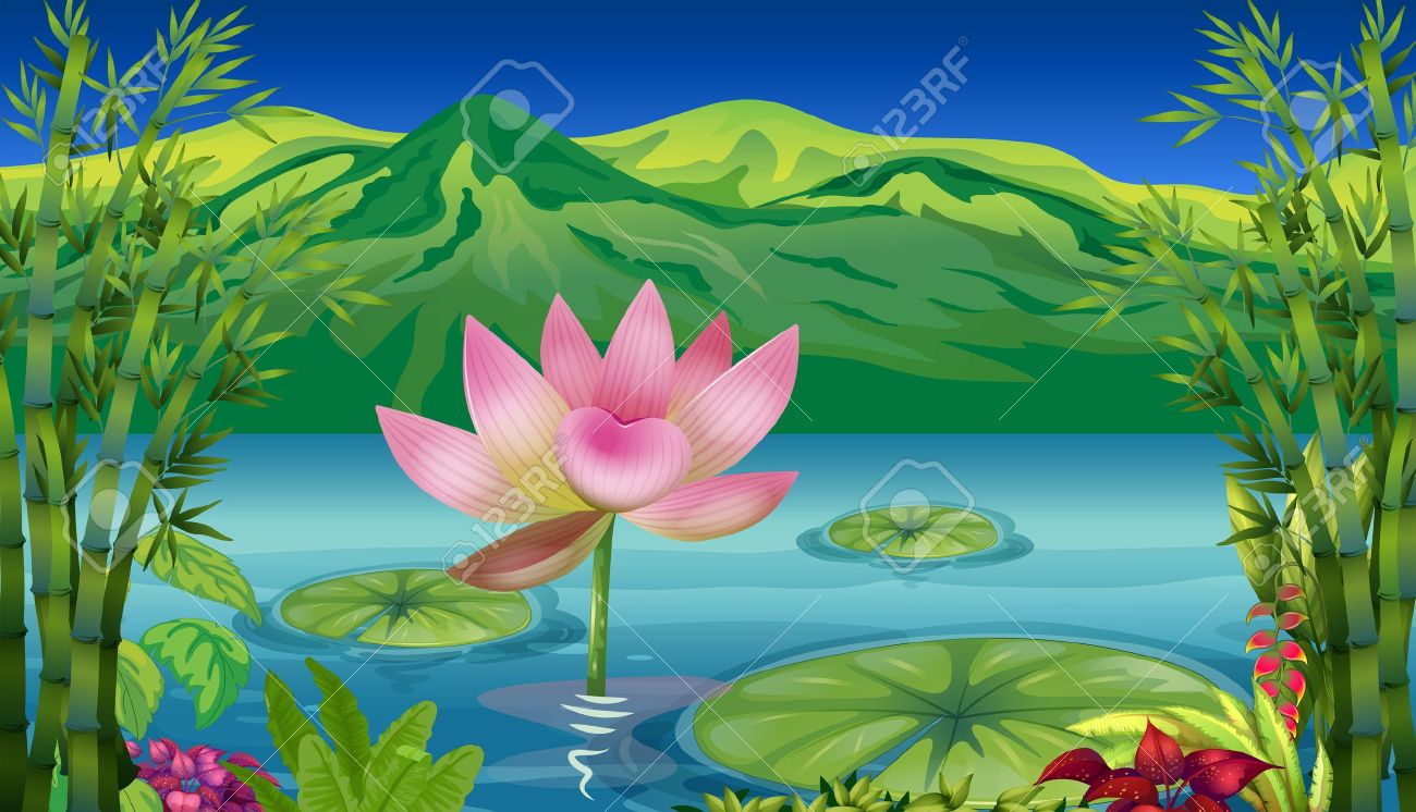 Illustration Of A Lake And A Beautiful Landscape Royalty Free.