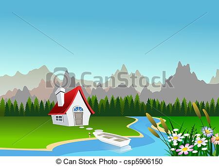 Beautiful natural scenery clipart.