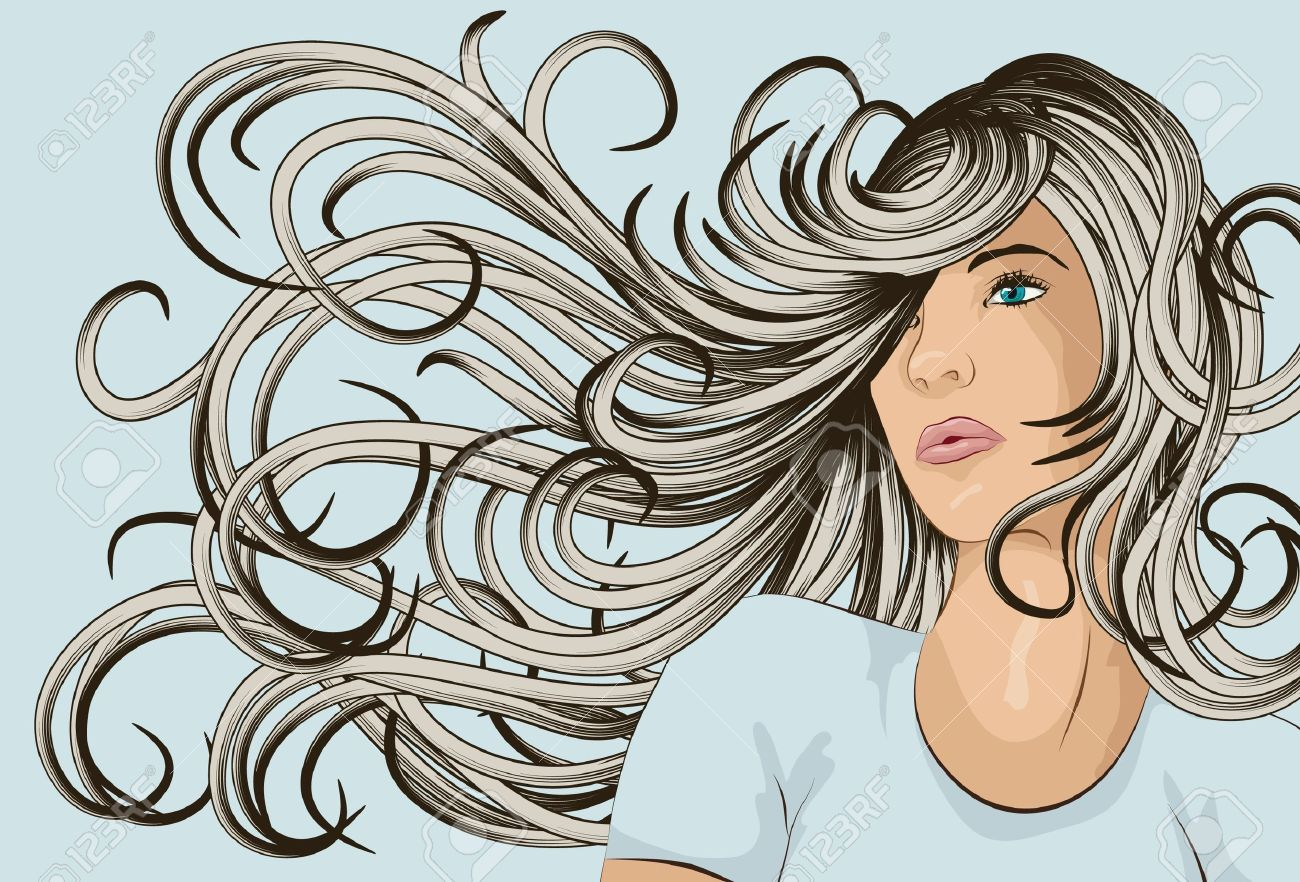 Hair Blowing In Wind Clipart.