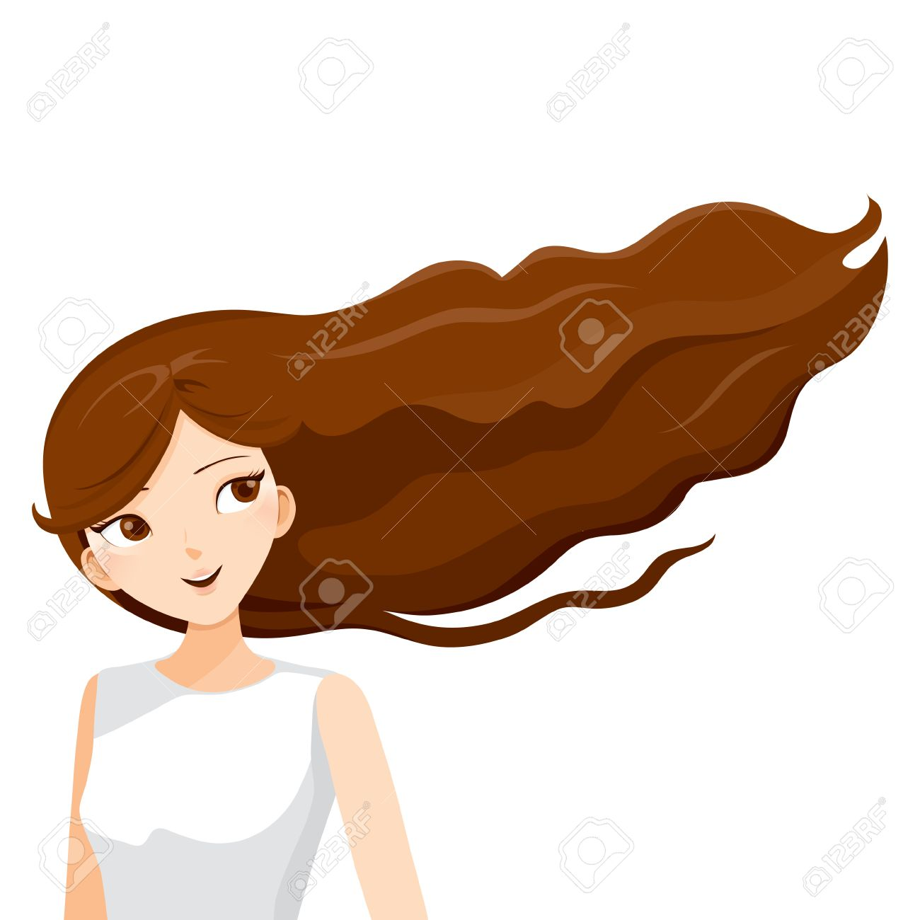 Hair Blowing In The Wind Clipart.