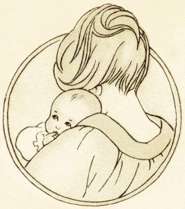 free vintage clipart baby, mother holding baby, antique baby.