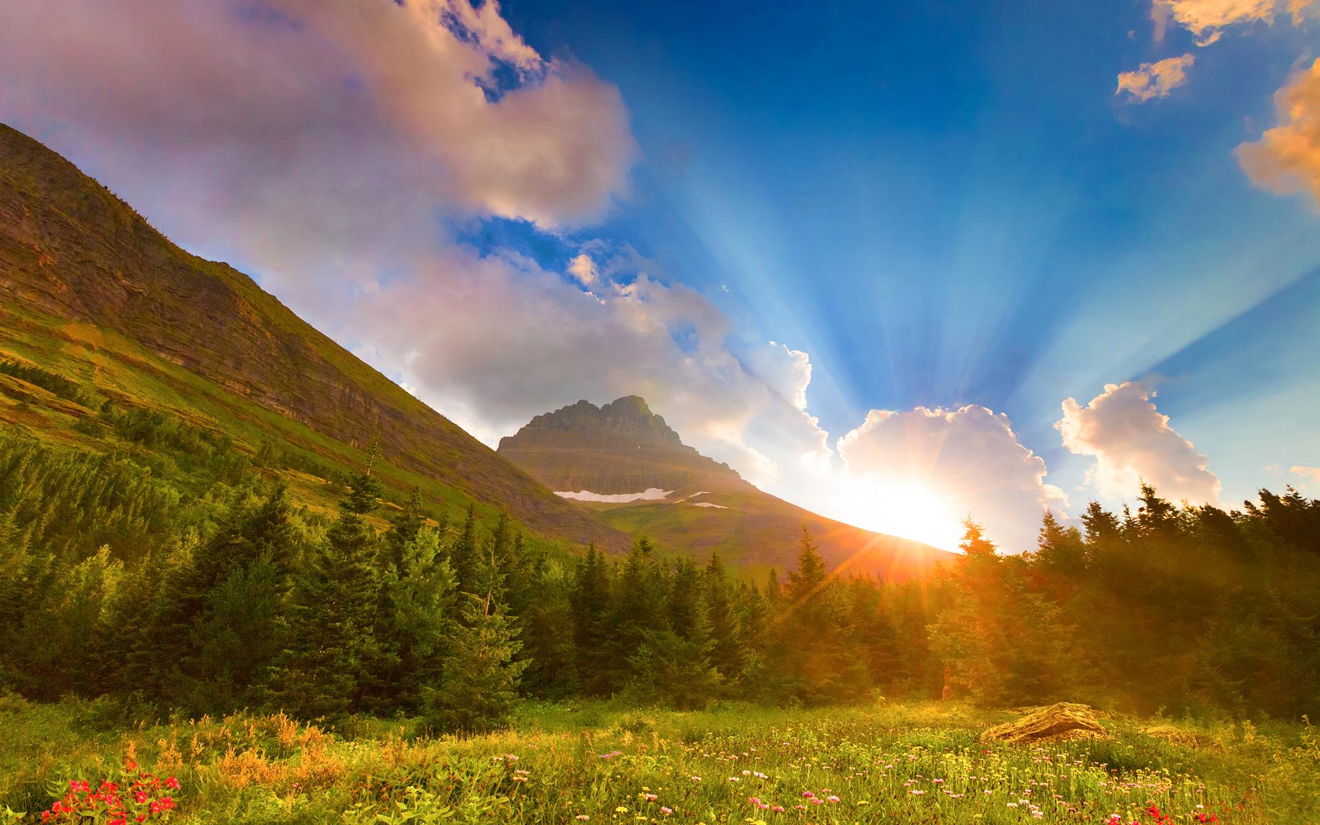 beautiful mountain sunrise clipart