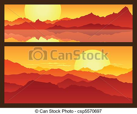 Vectors Illustration of Sunrise in the mountains, beautiful.