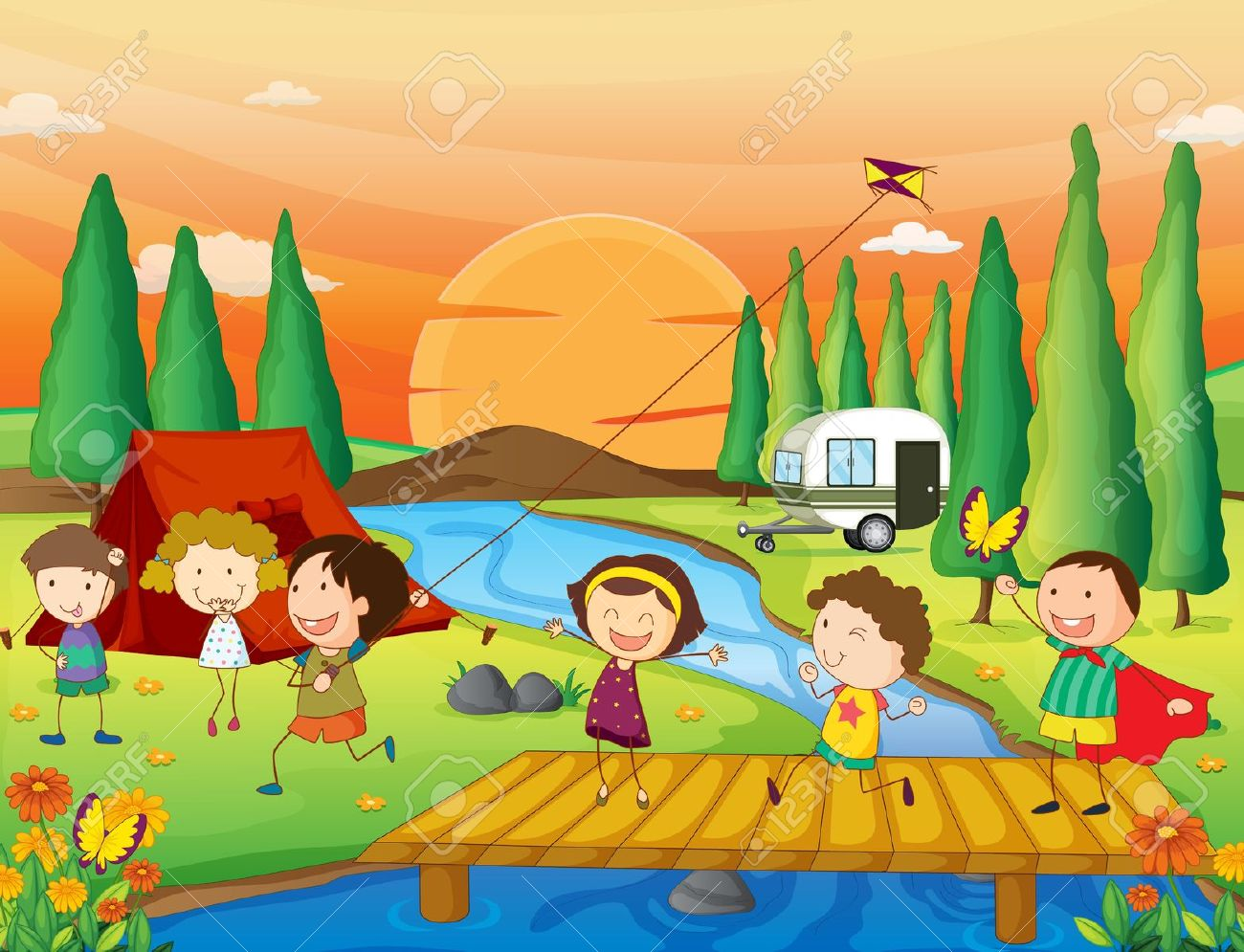 Illustration Of Kids Playing In Beautiful Nature Royalty Free.