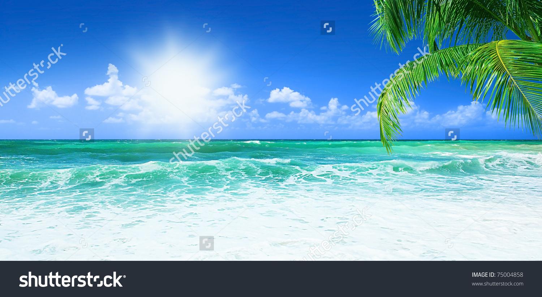Beach Beautiful Panoramic Sea View Clean Stock Photo 75004858.