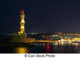 Stock Photos of Beautiful night panoramic view of Kavala, Greece.