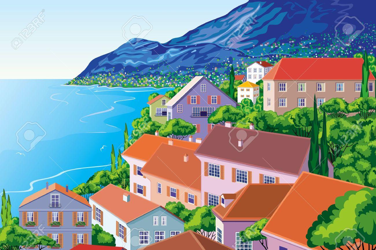 Town Landscape Vector Illustration: Litoral Clipart