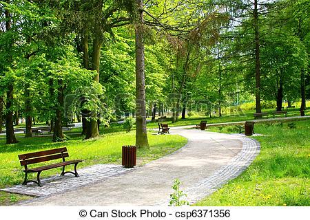 Stock Image of Beautiful Spring Park csp6371356.