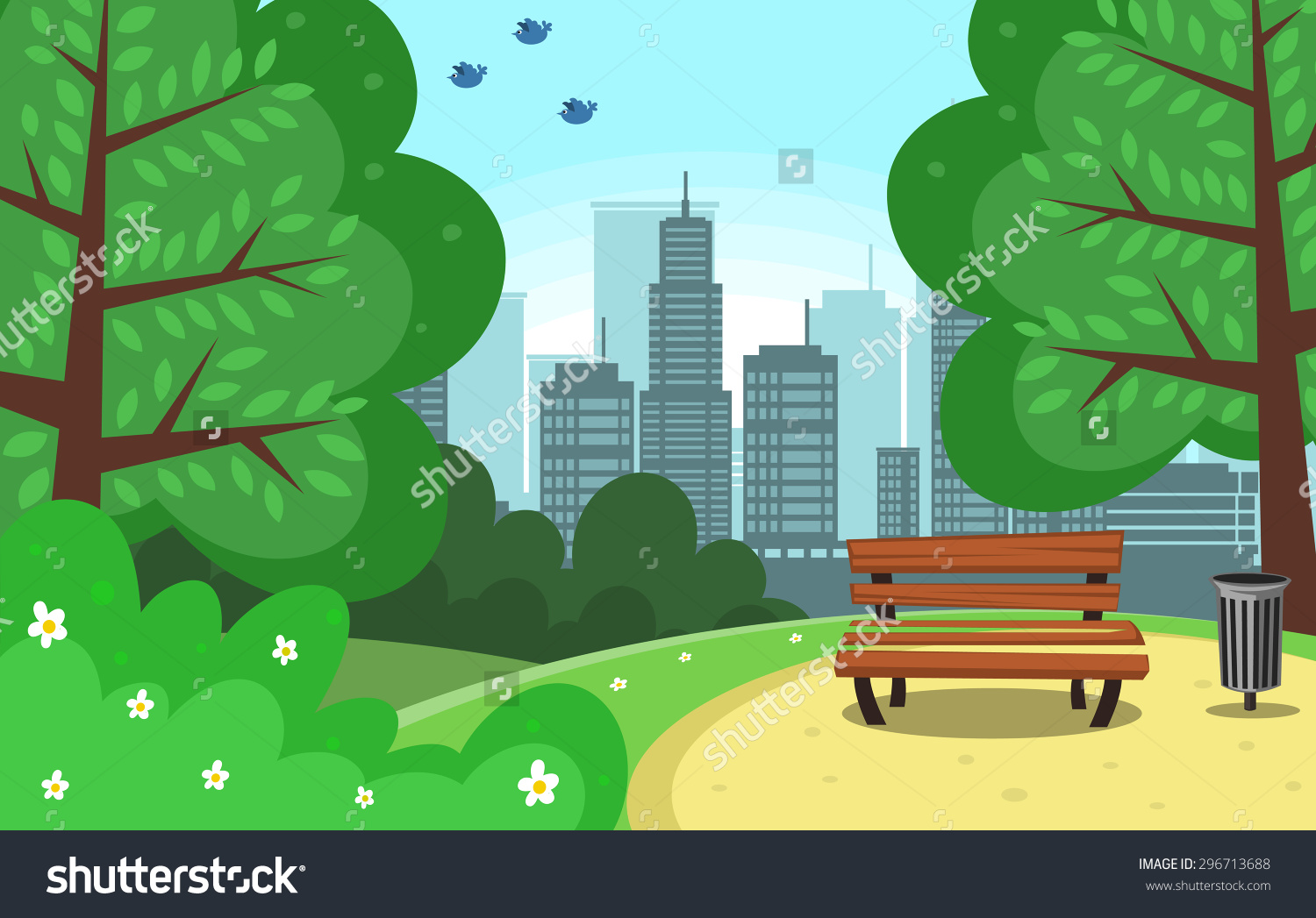 Vector Chair Trash Can Green Park Stock Vector 296713688.