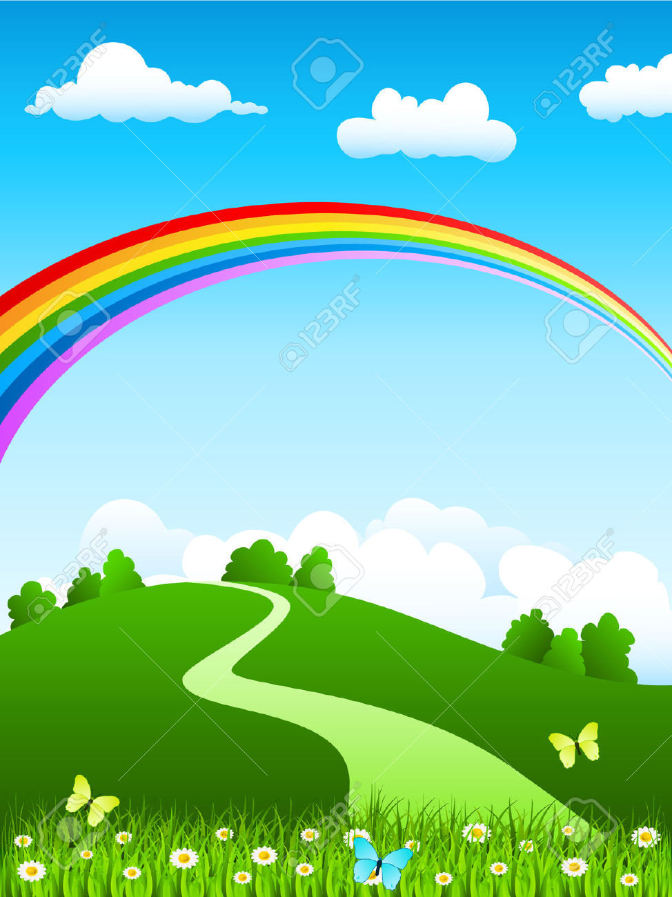 Beautiful garden with rainbow background clipart.