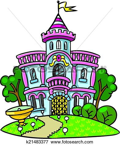 Clip Art of Fairy palace in the beautiful park. k21483377.