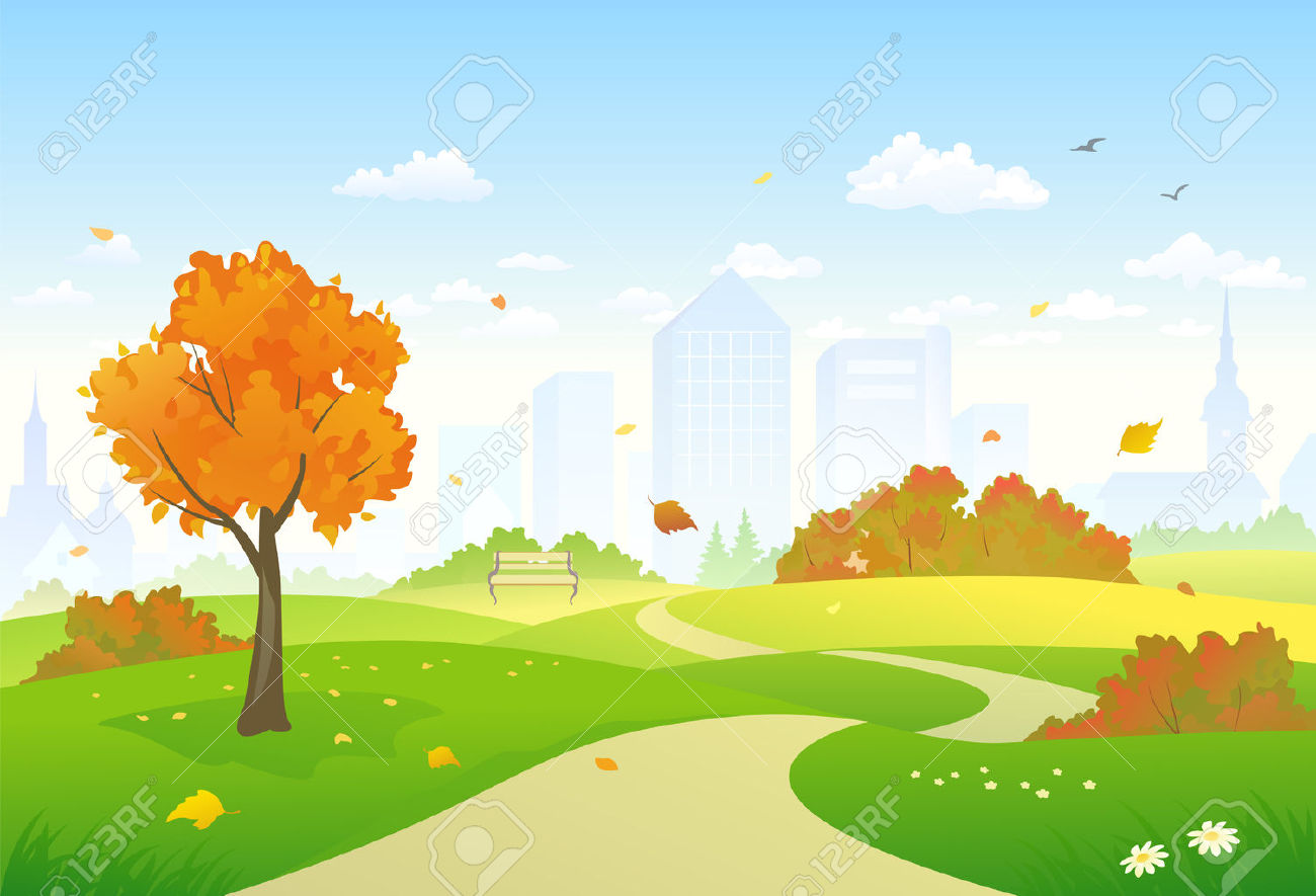Vector Illustration Of A Beautiful Autumn City Park Alley Royalty.