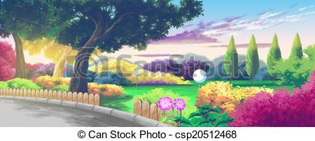 Stock Illustration of Nice Park Cartoon Landscape csp20512468.