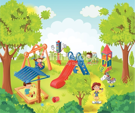 Children Playing In The Park Vector Illustration Vector Art.
