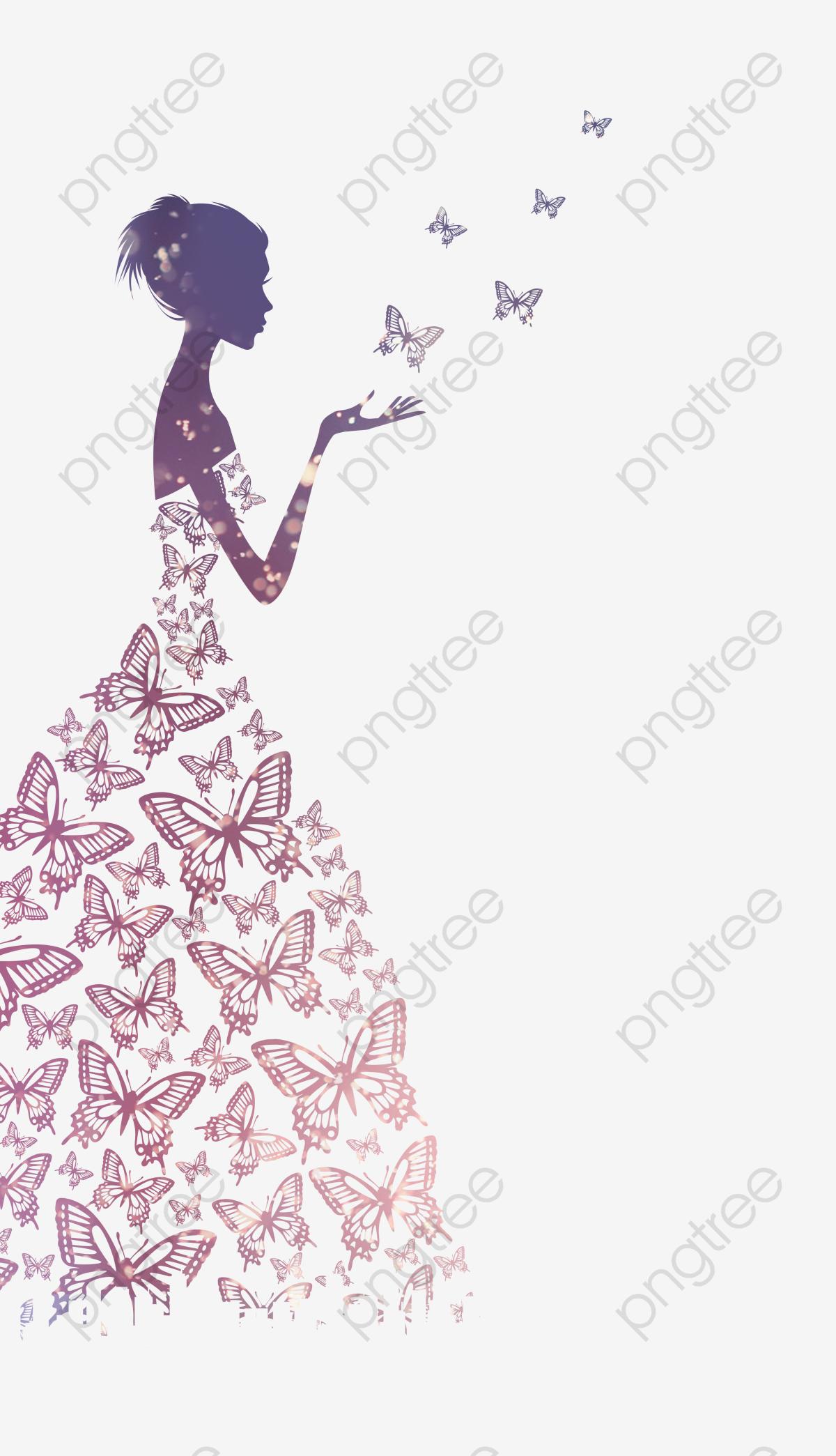 Beautiful Wedding Bride With Butterflies, Purple, Beautiful.