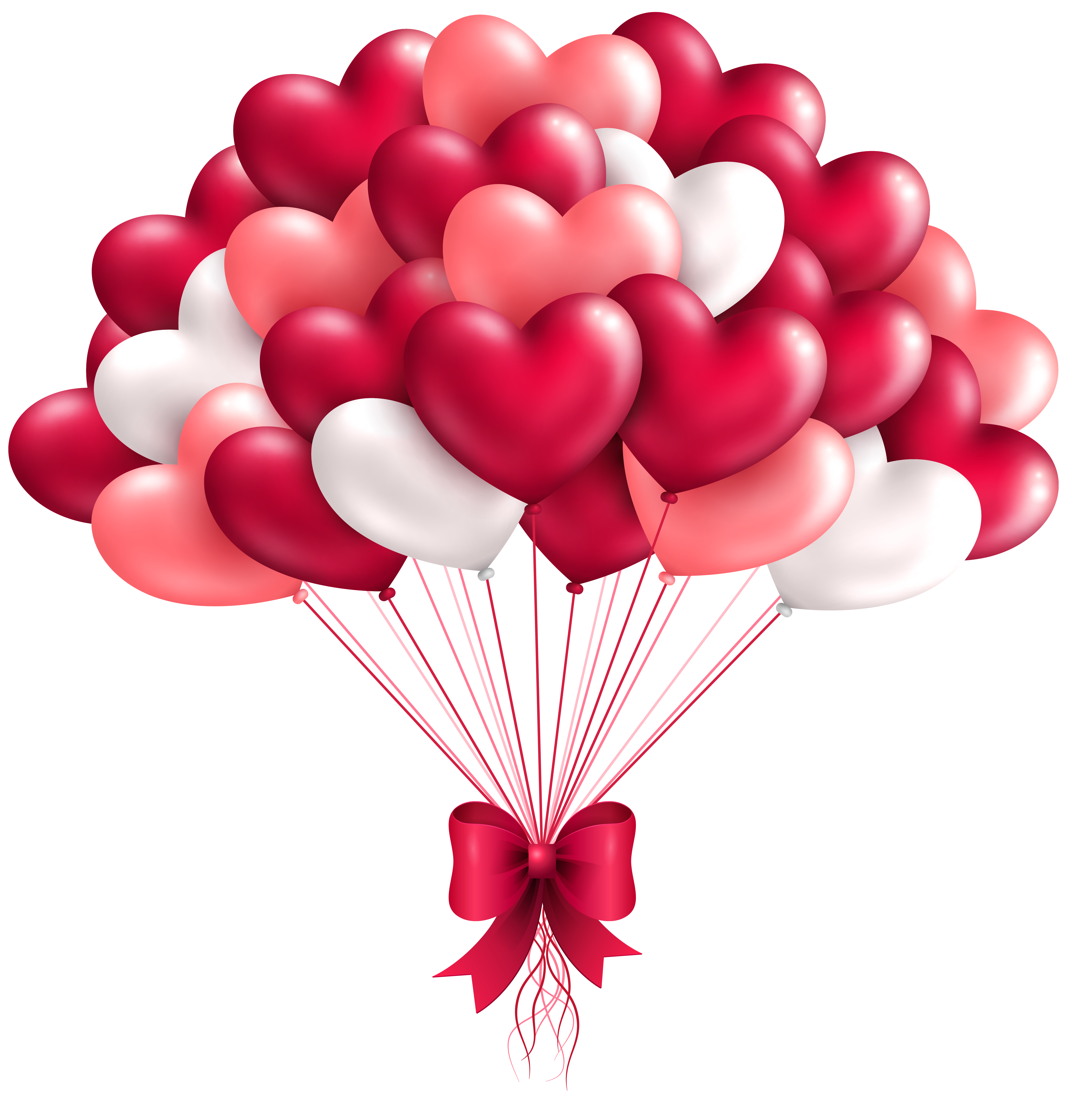 Beautiful Heart Balloons PNG Clipart Image.