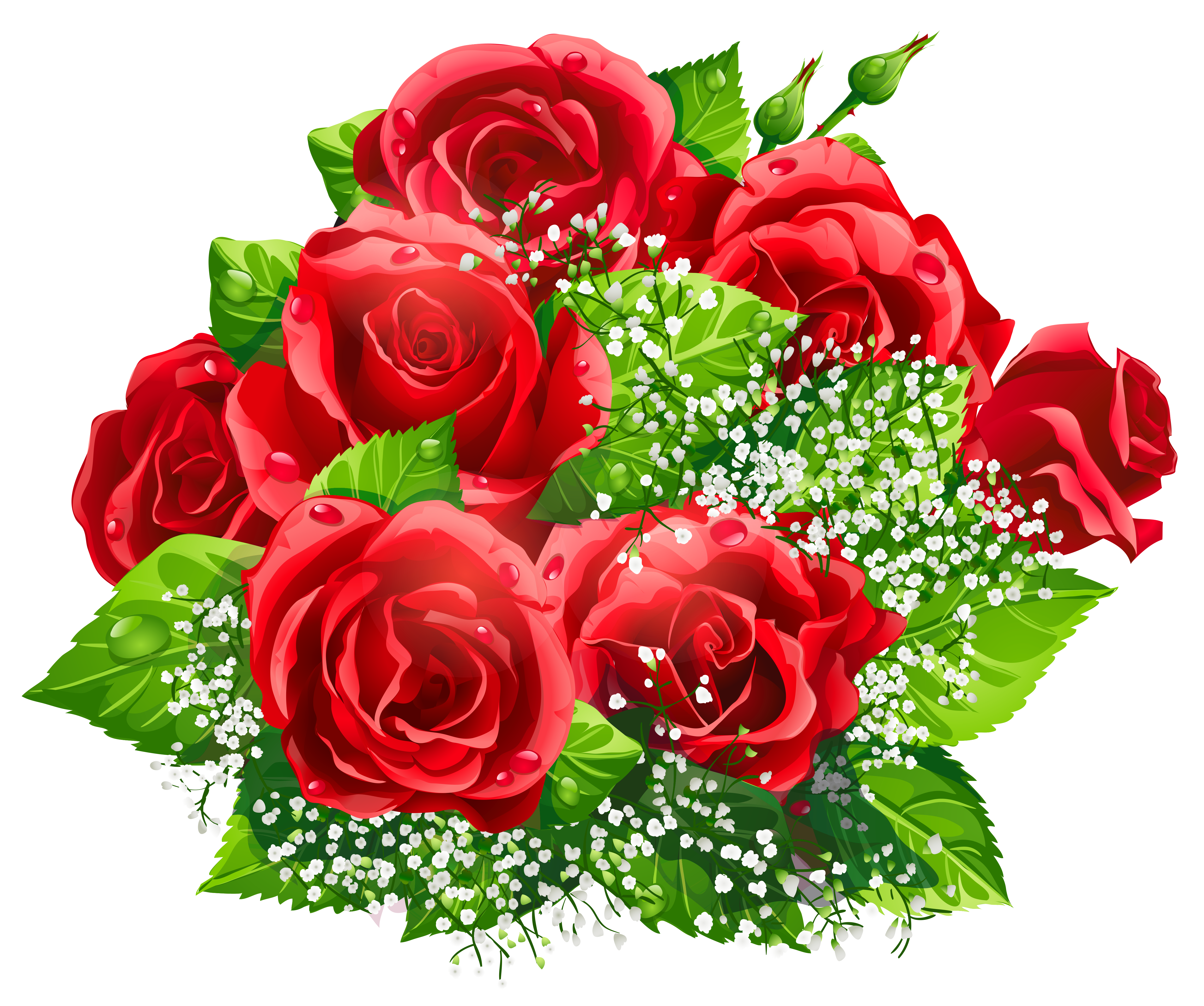 Beautiful Red Roses Decor PNG Clipart.