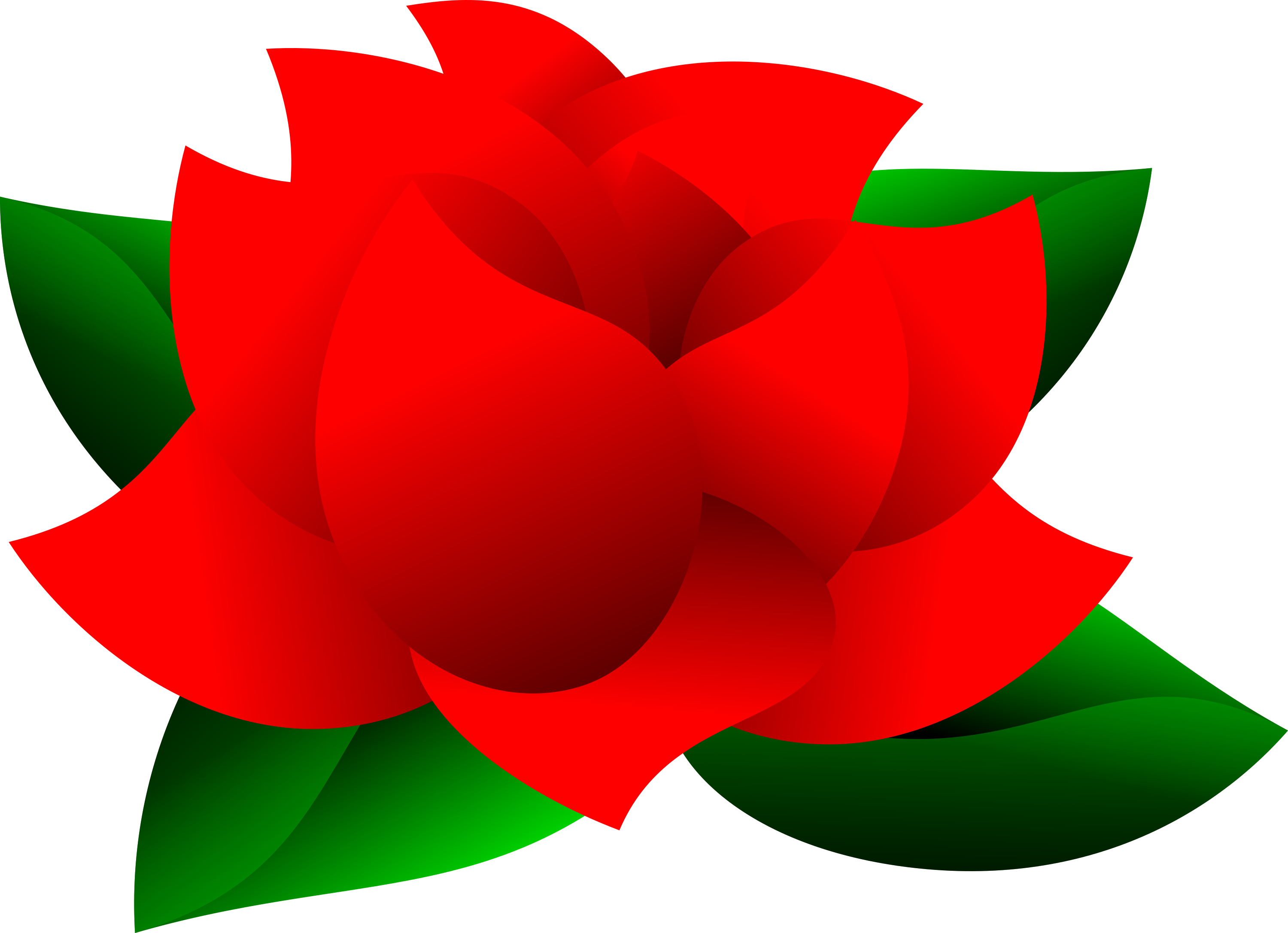 Beautiful Red Rose with Green Leaves Clipart.