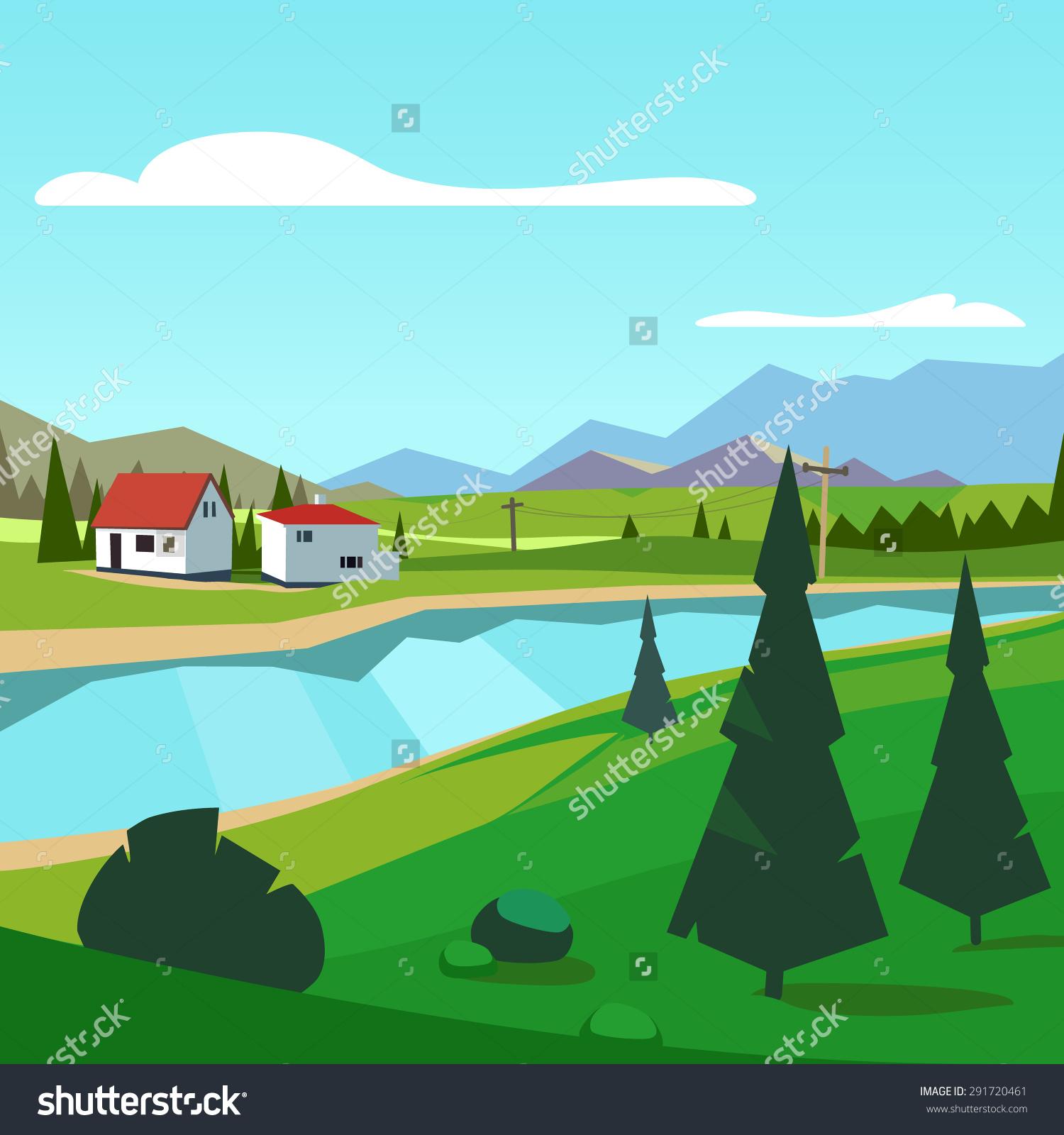 Beautiful Mountain Scenery Clip Art.