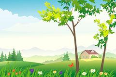 Beautiful Lush Mountain Scenery Stock Illustrations.