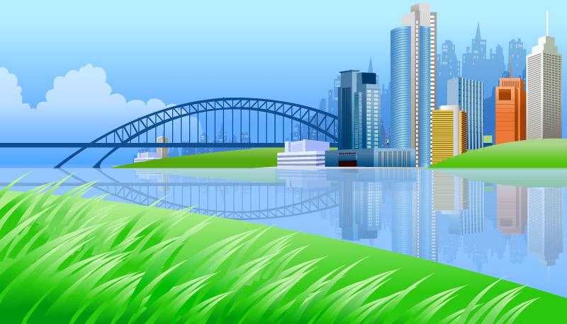 River Beautiful Scenery Clip Art.