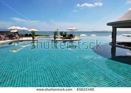 Tropical Resort Poolside Beautiful Sea View Stock Photo 65787868.