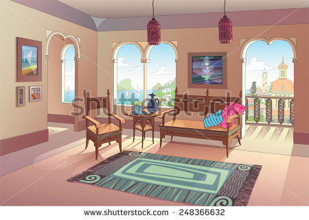 The Light Living Room Decorated In Oriental Style With A Beautiful.