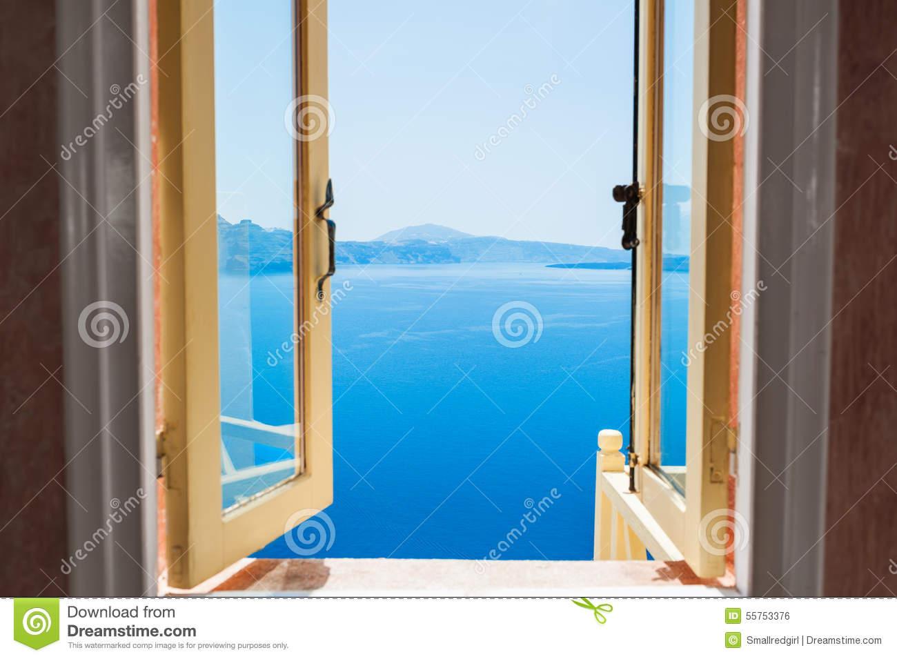 Open Window With Beautiful Sea View. Stock Photo.