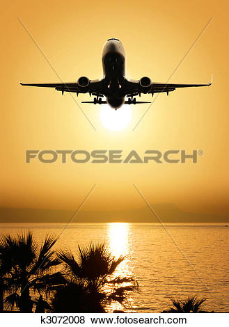 Pictures of beautiful sea view and plane k3072008.