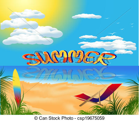 Clipart Vector of summer card with sea view.