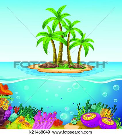 Clip Art of A beautiful island in the middle of the sea k21458049.