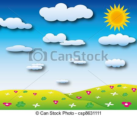 Clipart of Sunshine day with cloudy sky and many beautiful flower.