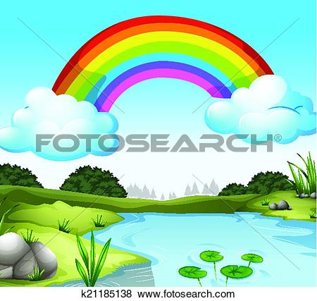Clip Art of A beautiful landscape with a pond k21228298.