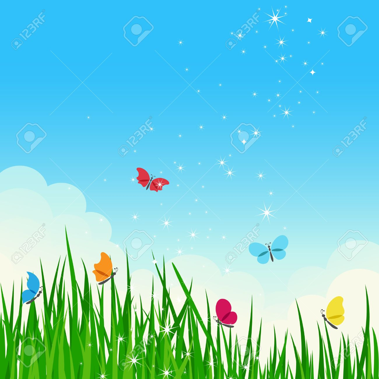 Beautiful Shiny Summer Meadow With Colorful Butterflies. Royalty.