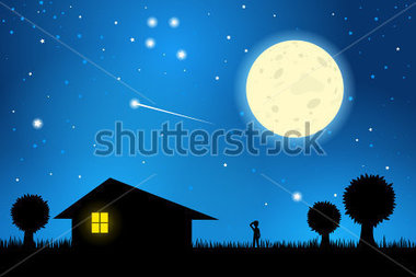 Beautiful night sky clipart.