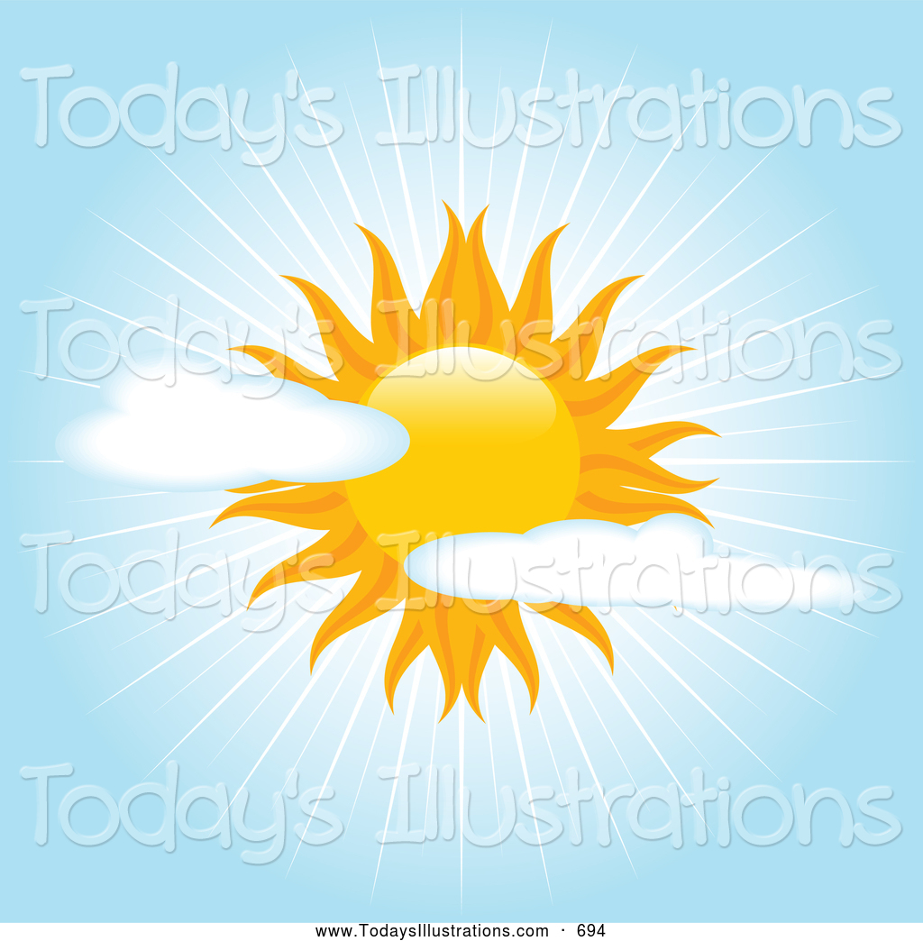 Clipart of a Bright Beautiful Sun in a Partially Cloudy Blue Sky.