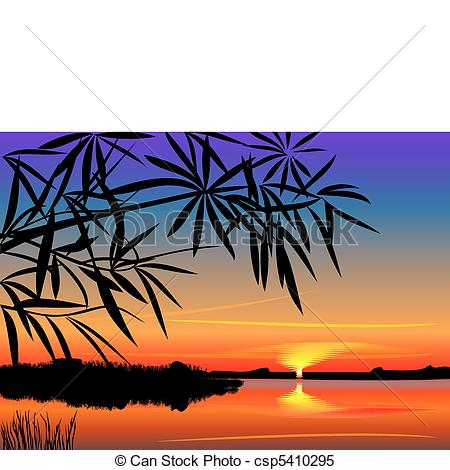 Clipart Vector of vector beautiful sunset over the lake.