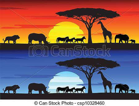 Clip Art Vector of Beautiful sunset background on Afri.