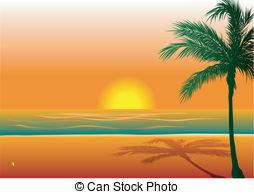 Beautiful Sunset at Beach Clip Art.
