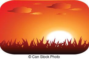 Clipart Vector of Beautiful Sunset Landscape.