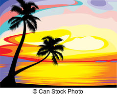 Hawaii sunset clipart.
