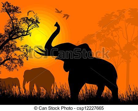 Clip Art Vector of Wild elephants at sunset on beautiful landscape.