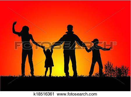 Clipart of happy family and a beautiful sunset k18516361.