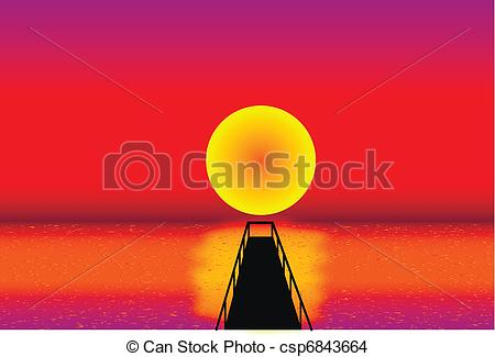 EPS Vector of Pier at sunset with beautiful colors csp6843664.