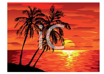Royalty Free Clipart Image: Beautiful Sunset on a Tropical Island.
